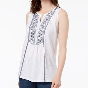 Charter Club Embroidered Tank Top